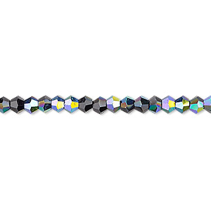 bead, celestial crystal, opaque black ab, 4mm faceted bicone. sold per 16-inch strand.