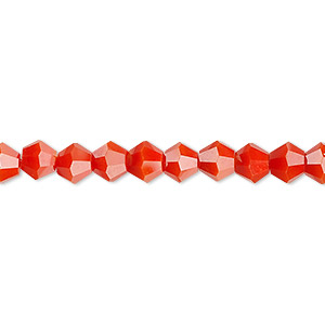 bead, celestial crystal, opaque orange, 6mm faceted bicone. sold per 16-inch strand.