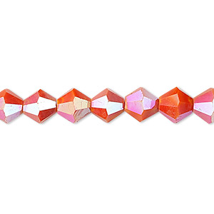 bead, celestial crystal, opaque orange ab, 8mm faceted bicone. sold per 16-inch strand.