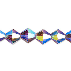 bead, celestial crystal, transparent amethyst purple ab, 10mm faceted bicone. sold per 8-inch strand, approximately 20 beads.