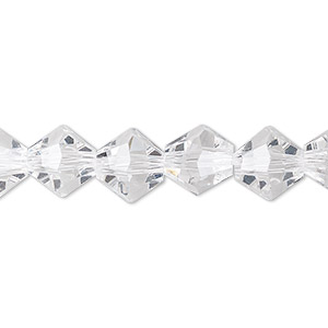 bead, celestial crystal, transparent clear, 10mm faceted bicone. sold per 8-inch strand, approximately 20 beads.