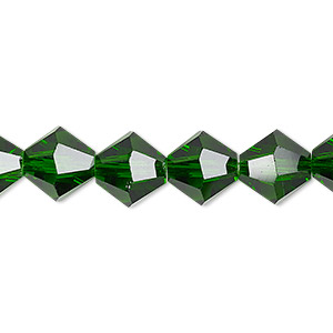 bead, celestial crystal, transparent emerald green, 10mm faceted bicone. sold per 8-inch strand, approximately 20 beads.