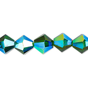 bead, celestial crystal, transparent emerald green ab, 10mm faceted bicone. sold per 8-inch strand, approximately 20 beads.