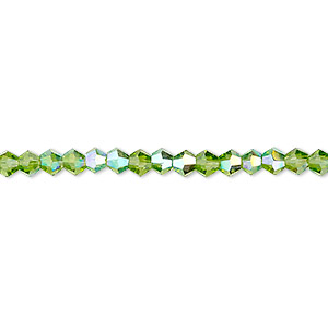bead, celestial crystal, transparent green ab, 4mm faceted bicone. sold per 16-inch strand.
