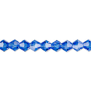 bead, celestial crystal, transparent medium blue, 6mm faceted bicone. sold per 16-inch strand.