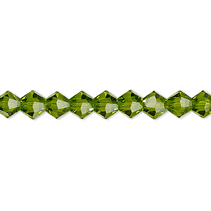 bead, celestial crystal, transparent peridot green, 6mm faceted bicone. sold per 16-inch strand.