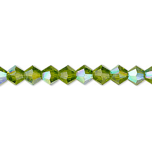 bead, celestial crystal, transparent peridot green ab, 6mm faceted bicone. sold per 16-inch strand.