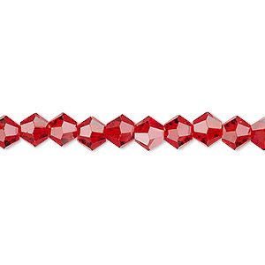 bead, celestial crystal, transparent red, 6mm faceted bicone. sold per 16-inch strand.