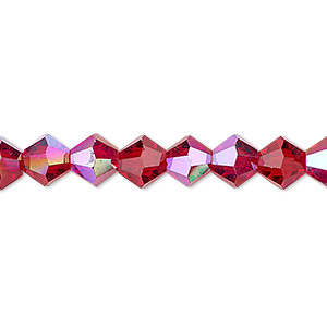 bead, celestial crystal, transparent red ab, 8mm faceted bicone. sold per 16-inch strand.