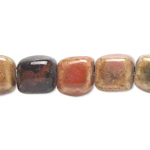 bead, ceramic, mixed colors, 10x10mm cube. sold per 8-inch strand, approximately 17-19 beads.