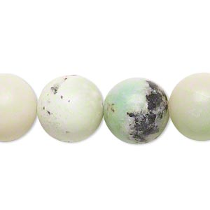 bead, chinese chrysoprase (natural), 14mm round, c- grade, mohs hardness 2-1/2 to 6. sold per 15-inch strand.