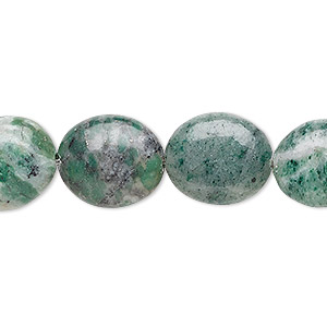 bead, ching hai jade (natural), 14x12mm flat oval, b grade, mohs hardness 3-1/2 to 4. sold per 16-inch strand.