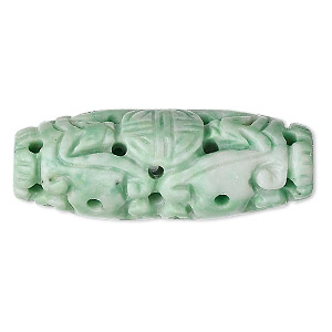 bead, ching hai jade (natural), 39x15mm hand-carved oval, b grade, mohs hardness 3-1/2 to 4. sold individually.