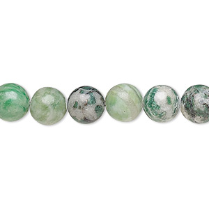 bead, ching hai jade (natural), 8mm round, b grade, mohs hardness 3-1/2 to 4. sold per 16-inch strand.