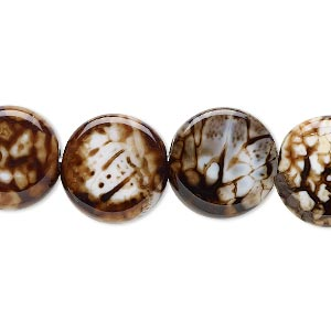 bead, chocolate crackle agate (dyed / heated), 14mm hand-cut flat round, b grade, mohs hardness 6-1/2 to 7. sold per 8-inch strand.