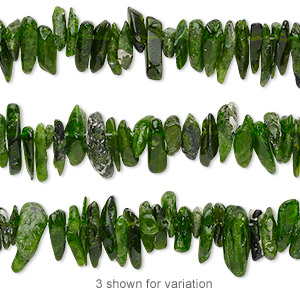 bead, chrome diopside (natural), small to extra-large hand-cut hawaiian chip, mohs hardness 5-1/2 to 6. sold per 16-inch strand.