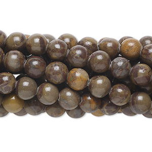 bead, chrysanthemum stone (natural), 6mm round, b grade, mohs hardness 3 to 4. sold per pkg of (10) 16-inch strands.