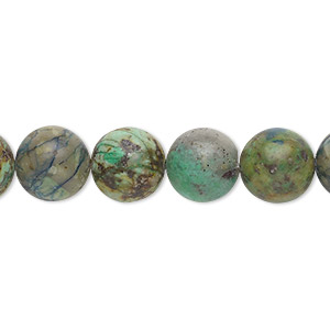 bead, chrysocolla (stabilized), 10mm round, b grade, mohs hardness 2 to 4. sold per 16-inch strand.