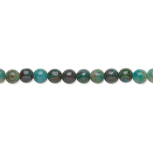 bead, chrysocolla (stabilized), 4mm round, b grade, mohs hardness 2 to 4. sold per 16-inch strand.