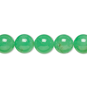 bead, chrysoprase (natural), 10mm round, b- grade, mohs hardness 6-1/2 to 7. sold per 15-inch strand.