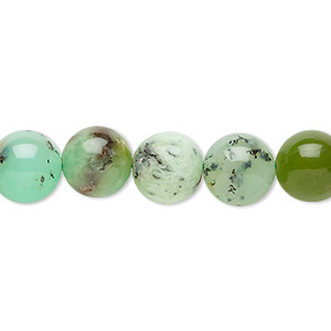 bead, chrysoprase (natural), 10mm round, c grade, mohs hardness 6-1/2 to 7. sold per 8-inch strand, approximately 20 beads.