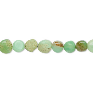 bead, chrysoprase (natural), 6-7mm hand-cut puffed flat round, c- grade, mohs hardness 6-1/2 to 7. sold per 7-inch strand.