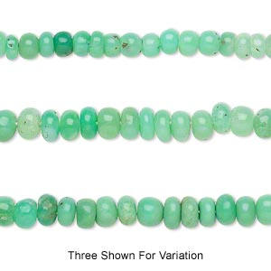 bead, chrysoprase (natural), shaded, 4x2mm-5x4mm hand-cut rondelle, c grade, mohs hardness 6-1/2 to 7. sold per 14-inch strand.
