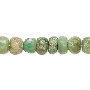 bead, chrysoprase (natural), shaded, 8x4mm-10x7mm hand-cut rondelle, c grade, mohs hardness 6-1/2 to 7. sold per 14-inch strand.