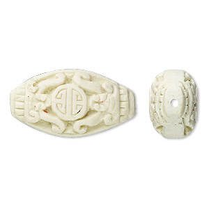 bead, cinnabar (imitation), antique white, 26x14mm hand-carved oval with oriental design. sold per pkg of 4.