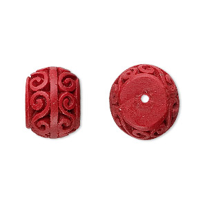 bead, cinnabar (imitation), red, 15x12mm carved rondelle. sold per pkg of 8.