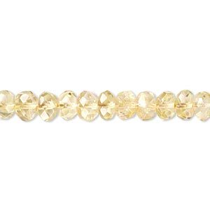 bead, citrine and quartz crystal (natural / dyed / heated), 6x3mm-7x5mm hand-cut faceted rondelle, c grade, mohs hardness 7. sold per 14-inch strand.