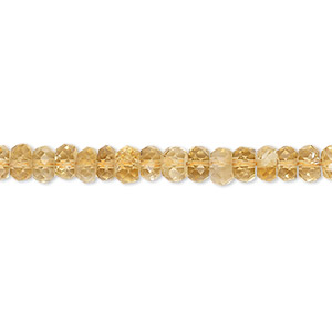 bead, citrine (dyed / heated), 4x2mm-5x3mm hand-cut faceted button, c grade, mohs hardness 7. sold per 16-inch strand.