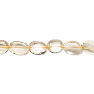 bead, citrine (dyed / heated), 7x7mm-12x8mm hand-cut flat oval, c grade, mohs hardness 7. sold per 16-inch strand.