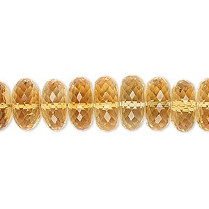 bead, citrine (heated), 10x4mm-11x5mm graduated hand-cut faceted rondelle, b+ grade, mohs hardness 7. sold per pkg of 10.