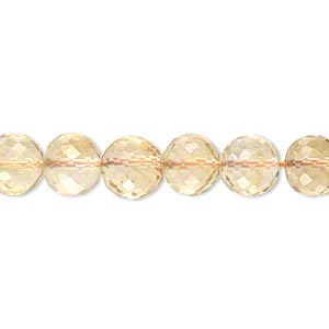 bead, citrine (heated), 6-8mm graduated hand-cut faceted round, b grade, mohs hardness 7. sold per 18-inch strand.