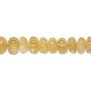 bead, citrine (heated), 7x3mm-9x6mm hand-cut fluted rondelle, c- grade, mohs hardness 7. sold per 14-inch strand.