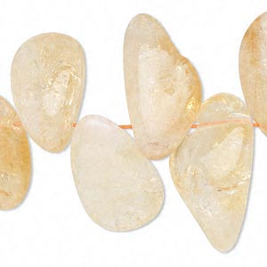 bead, citrine (heated), extra-large top-drilled hawaiian chip, mohs hardness 7. sold per 16-inch strand.