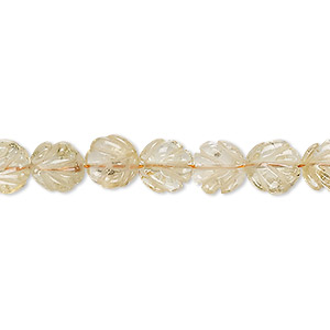 bead, citrine (heated), light, 7x7mm-8x8mm hand-cut carved leaf, c grade, mohs hardness 7. sold per 14-inch strand.