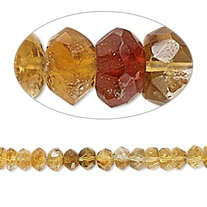 bead, citrine (heated), shaded, 5x2mm-6x4mm hand-cut faceted rondelle, c+ grade, mohs hardness 7. sold per 8-inch strand.