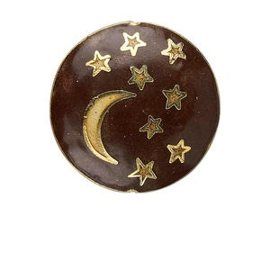 bead, cloisonne, brown and gold, 33mm puffed flat round with crescent moon and stars. . sold individually.