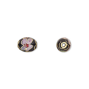 bead, cloisonne, enamel and gold-finished copper, black / pink / red, 9x7mm oval with flower design. sold per pkg of 10.