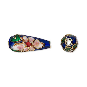 bead, cloisonne, enamel and gold-finished copper, blue and multicolored, 22x7mm teardrop with flower design. sold per pkg of 4.