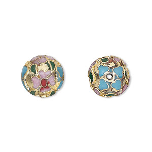 bead, cloisonne, enamel and gold-finished copper, multicolored, 12mm round with flower design. sold per pkg of 10.