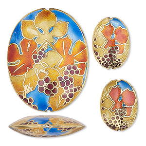bead, cloisonne, enamel and gold-finished copper, multicolored, 24x16mm and 49x38mm puffed oval with grape and leaf design. sold per 3-piece set.