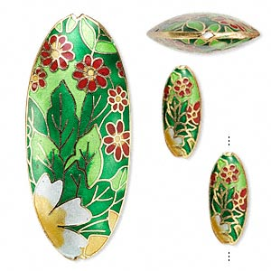 bead, cloisonne, enamel and gold-finished copper, multicolored, 25x11mm and 65x28mm puffed oval with flower and leaves design. sold per 3-piece set.
