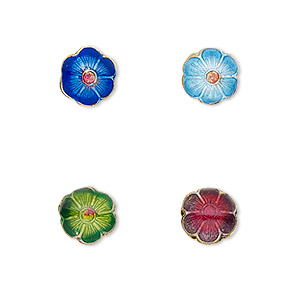 bead, cloisonne, enamel and gold-finished copper, multicolored, 8mm flower with 0.8mm hole. sold per pkg of 8.