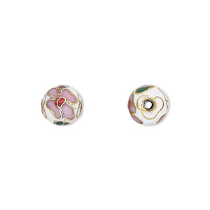 bead, cloisonne, enamel and gold-finished copper, multicolored, 8mm round with flower design. sold per pkg of 10.