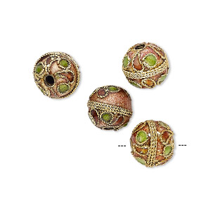 bead, cloisonne, enamel and gold-plated brass, multicolored, 10mm round with dots and swirls. sold per pkg of 4.