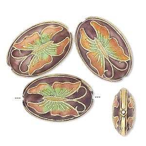 bead, cloisonne, gold-finished brass and enamel, orange/yellow/green/purple, 24x16x7mm oval with butterfly. sold per pkg of 4.