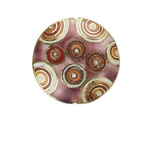 bead, cloisonne, purple / red / white, 29mm double-sided puffed round with orbicular design. sold individually.